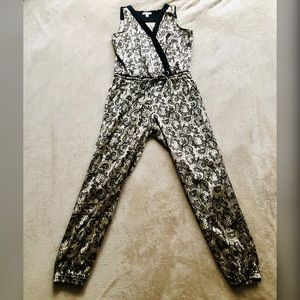 Gold Stretch Jumpsuit with black & gray embroidery